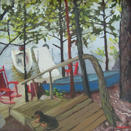 Schroon Lake with Sammy the dachshund buy jh Kunstler