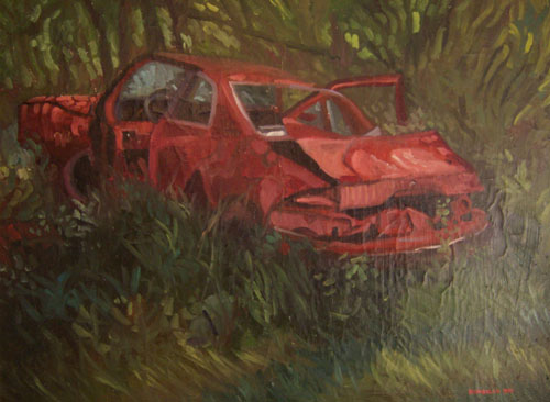 Muscle Car in the Woods by JH Kunstler