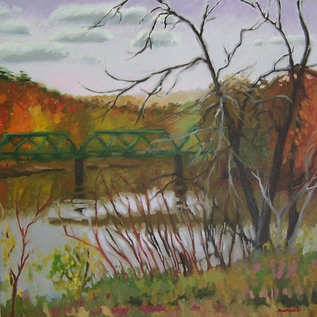 Bridge at Clarks Mills in Fall by kunstler