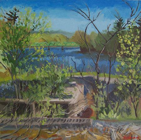 clarks mills bridge in spring by kunstler