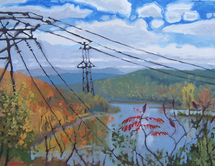 Paintings by James Howard Kunstler - Mohawk River at Rexford, Fall