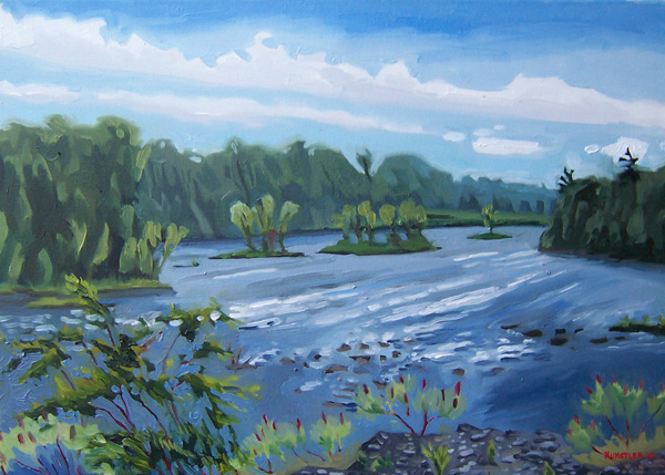 kunstler paintings 2011 River at Hudson Falls Summer