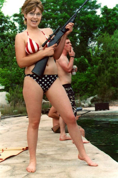 Sarah Palin with bikini and rifle