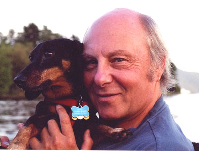 Jim Kunstler and his dog Sammy on Lake George 2005