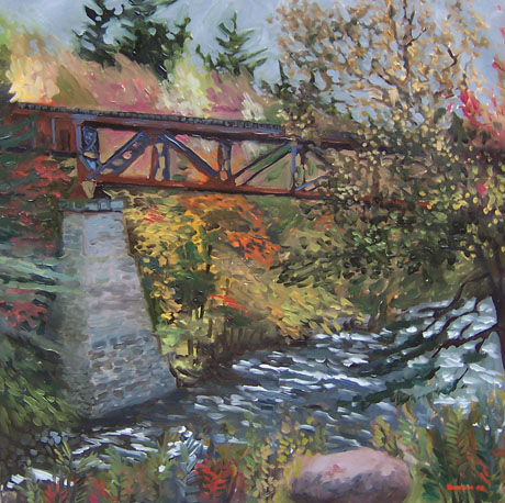 Railroad Bridge in Hadley NY by James Howard Kunstler