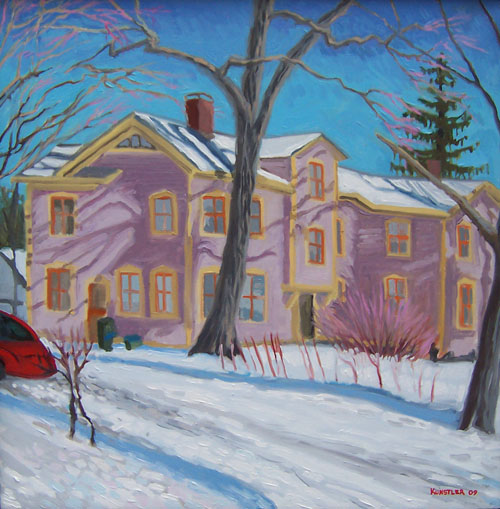 woodlawn house in snow painting by kunstler