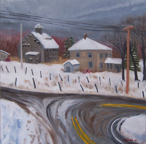 barn and snow painting by kunstler